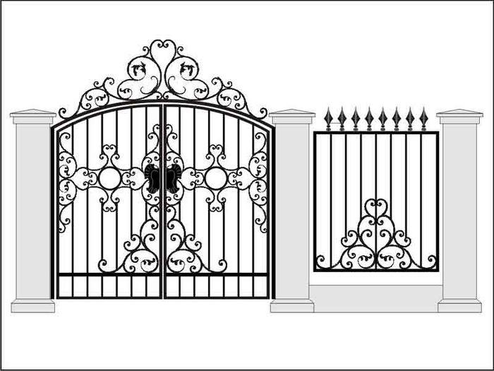 Кованые ворота с калиткой по